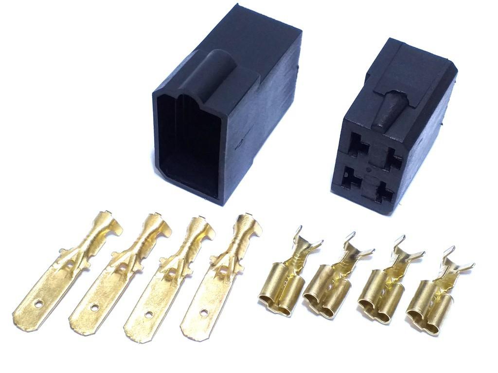 50 Conector 4 Vias Com Fio 4,0mm e 50 Conector 4 vias 6,3mm