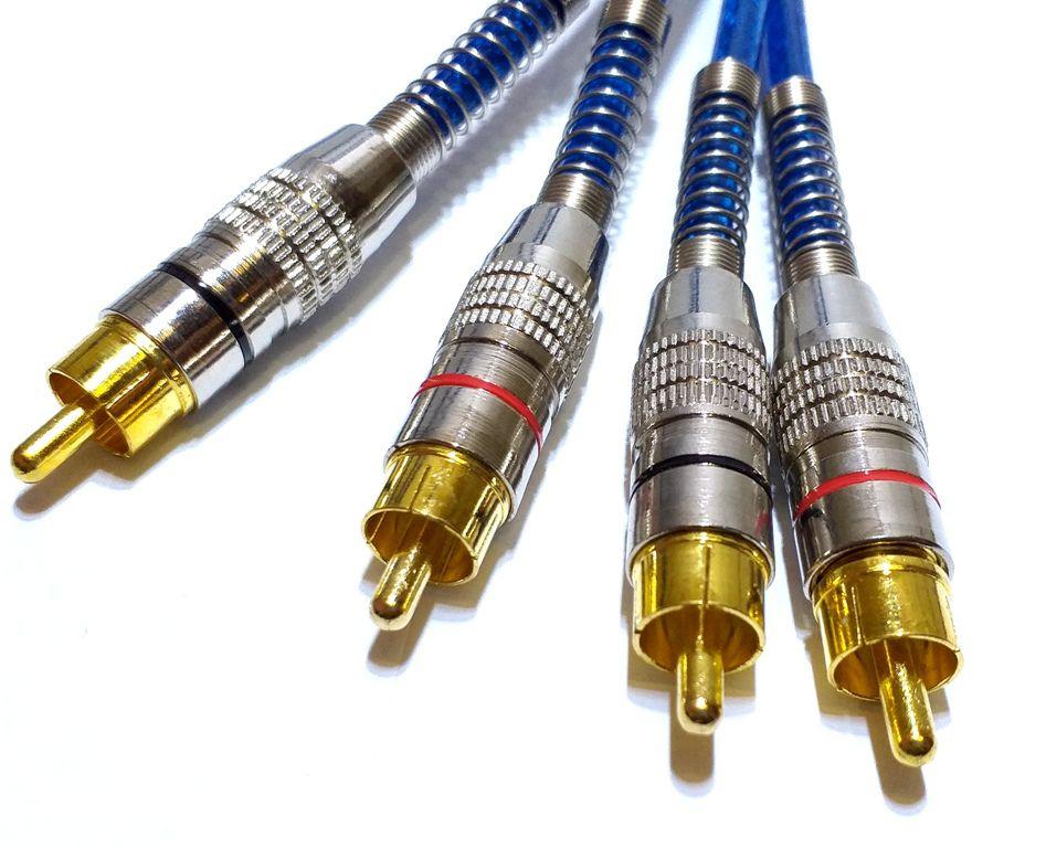 5 Cabos RCA Blindado 5 Metros 5mm Plug de Metal Banhado Ouro