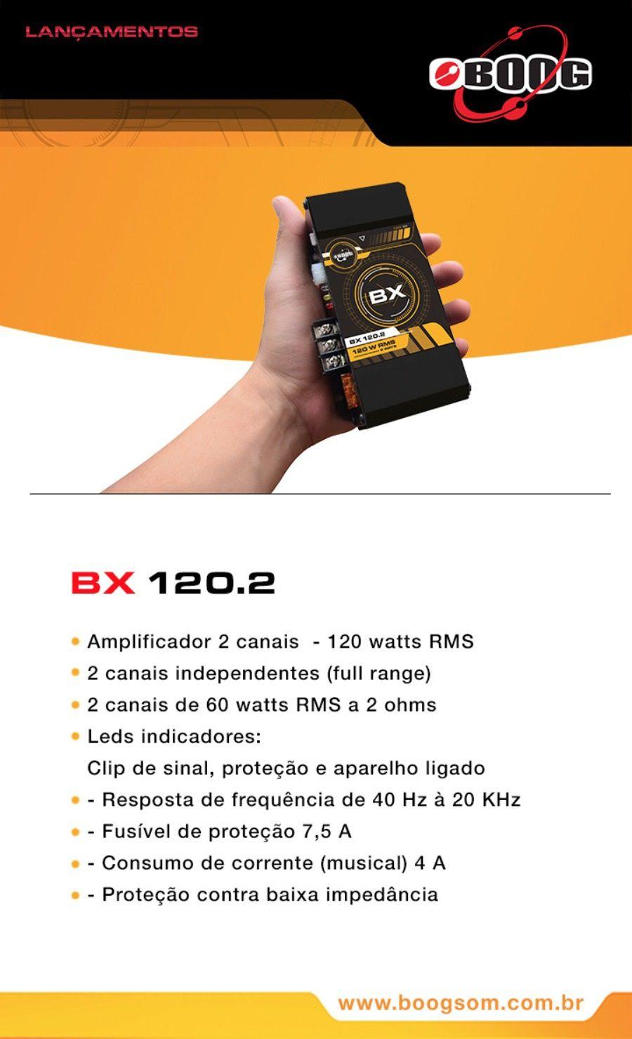 AMPLIFICADOR BOOG BX 120.2 MÓDULO DIGITAL 2 CANAIS 120W RMS