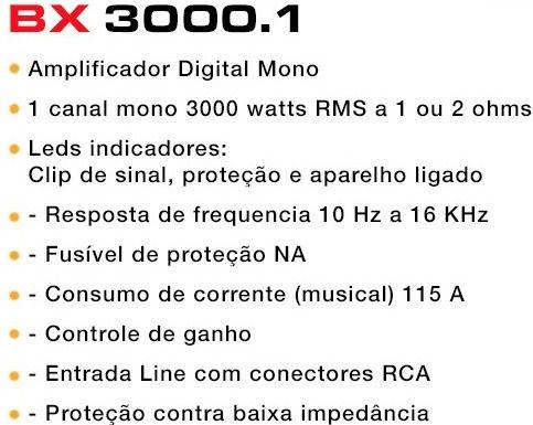 AMPLIFICADOR BOOG BX 3000.1 MÓDULO DIGITAL 1 CANAL 3000W RMS