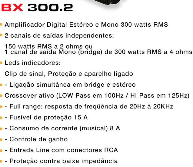 AMPLIFICADOR BOOG BX 300.2 MÓDULO DIGITAL 2 CANAIS 300W RMS
