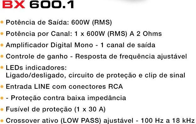 AMPLIFICADOR BOOG BX 600.1 MÓDULO DIGITAL 1 CANAL 600W RMS