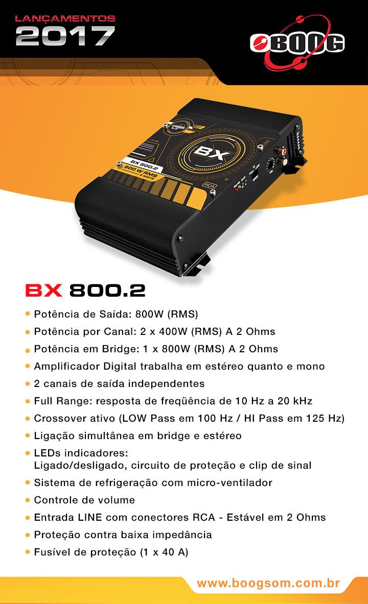 AMPLIFICADOR BOOG BX 800.2 MÓDULO DIGITAL 2 CANAIS 800W RMS