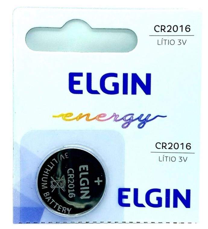 Bateria CR2016 Elgin Lítio Pilha Moeda 3 Volts 5 Unidades