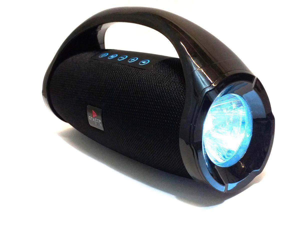 CAIXA SOM PORTÁTIL BLUETOOTH USB FM MP3 AMPLIFICADA - PRETA
