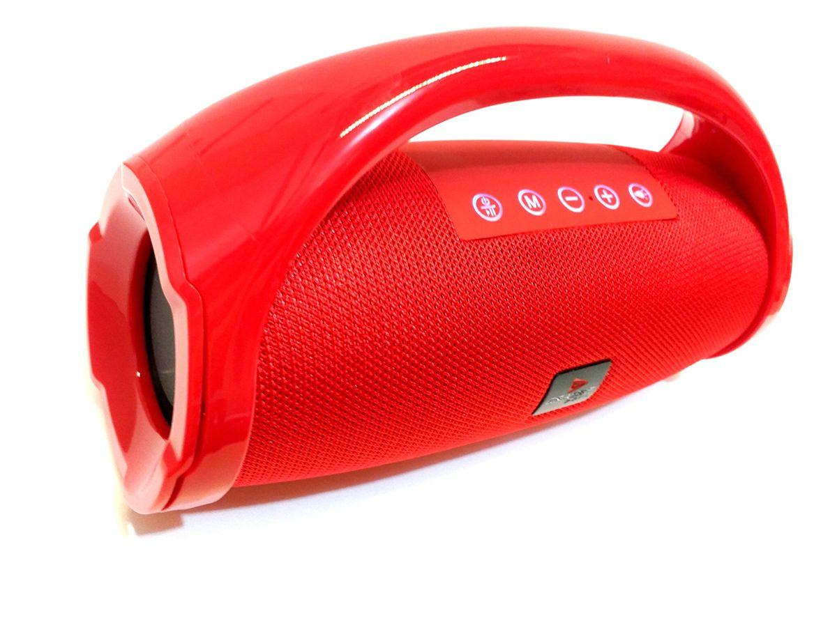 CAIXA SOM PORTÁTIL BLUETOOTH USB FM MP3 AMPLIFICADA VERMELHA