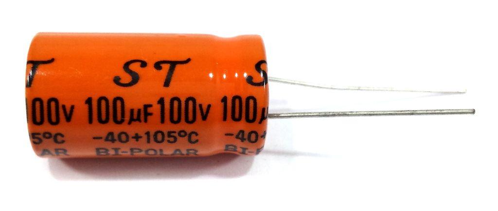 CAPACITOR BI-POLAR 100X100 - 100UF 100V LARANJA - (FALANTE)