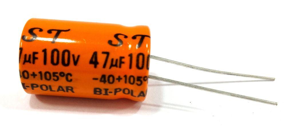 CAPACITOR BI-POLAR 47X100 - 47UF 100V LARANJA - (DRIVER/CORNETA)