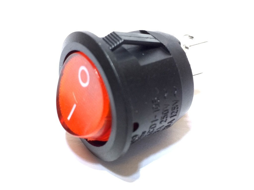 Chave Tic Tac 6A 250V Redonda Vermelha KCD1-106N 100 Unidade