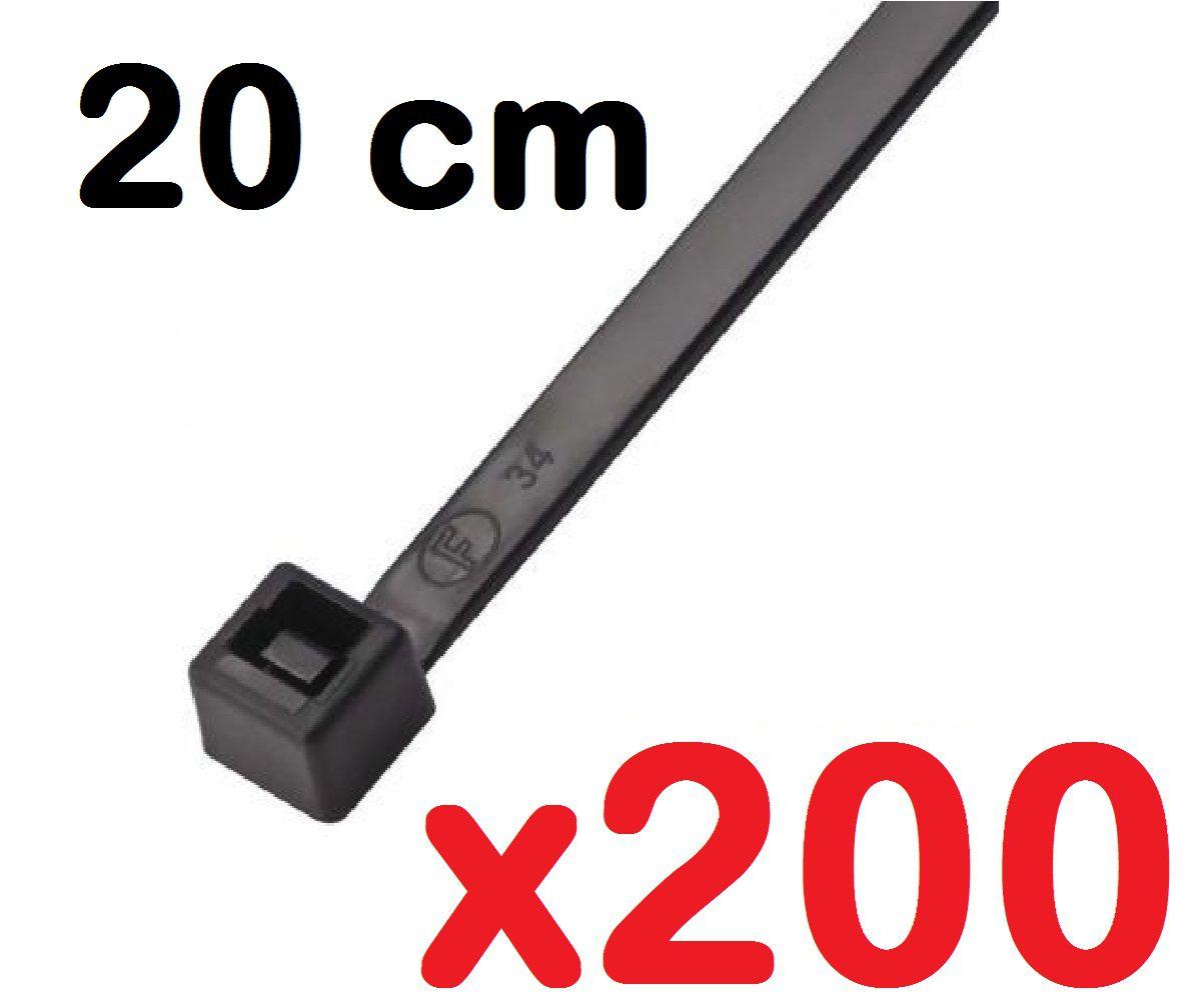 CINTA PLASTICA 20 CM - ABRAÇADEIRA NYLON PRETA 1,3 X 4,7 X 200 MM - 200 UNIDADES