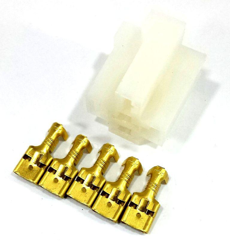 CONJUNTO CONECTOR 5 VIAS COM TERMINAL - P/ RELE 4 E 5 PINOS