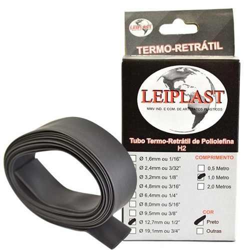 ESPAGUETE TERMO RETRATIL 12.7 MM PRETO - 1 METRO - LEIPLAST