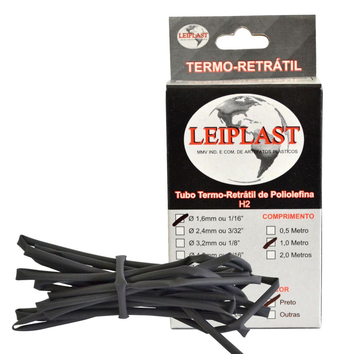 ESPAGUETE TERMO RETRATIL 1.6 MM PRETO - 1 METRO - LEIPLAST