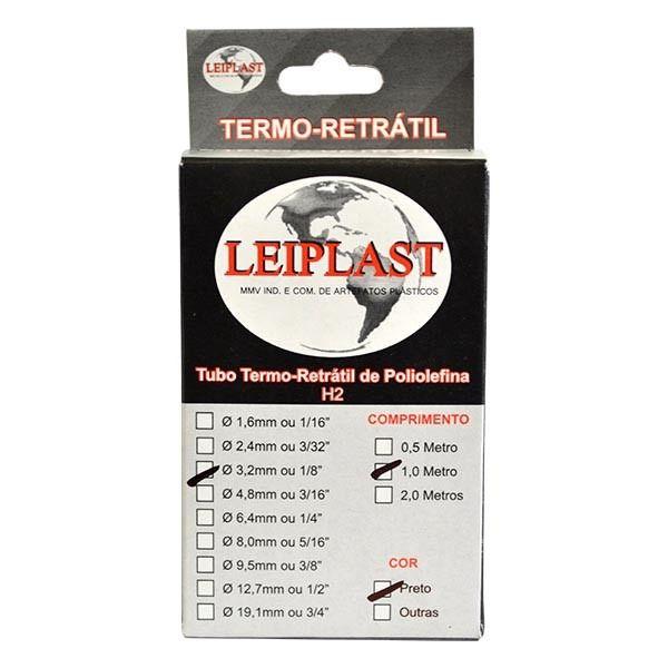 ESPAGUETE TERMO RETRATIL 3,2 MM PRETO - 1 METRO - LEIPLAST