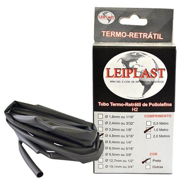 ESPAGUETE TERMO RETRATIL 4.8 MM PRETO - 1 METRO - LEIPLAST