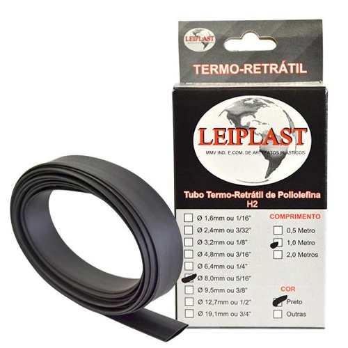 ESPAGUETE TERMO RETRATIL 8.0 MM PRETO - 1 METRO - LEIPLAST