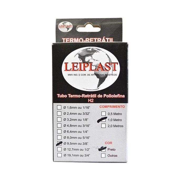 ESPAGUETE TERMO RETRATIL 9.5 MM PRETO - 1 METRO - LEIPLAST