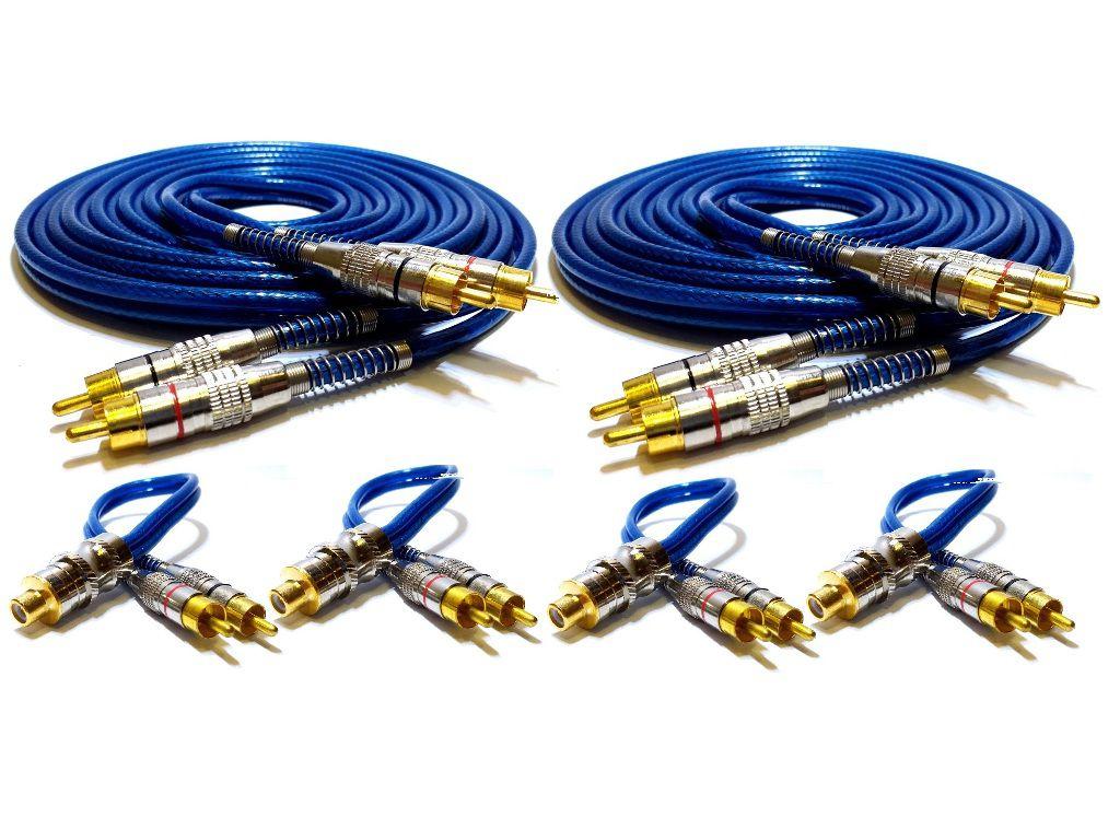 Kit 2 Cabo RCA Blindado 5 Metro e 4 Y 2M/1F Plug Metal Ouro