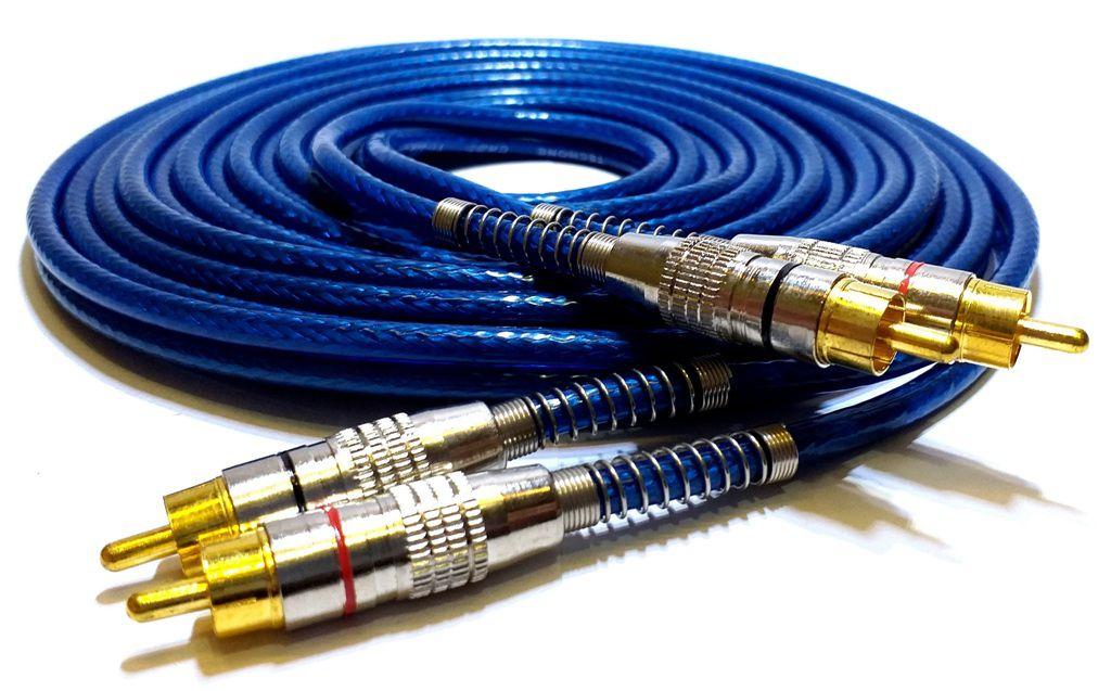 KIT CABO RCA BLINDADO 5 METROS + 2 Y 2M/1F - P/ MÓDULO AMPLIFICADOR - AZUL