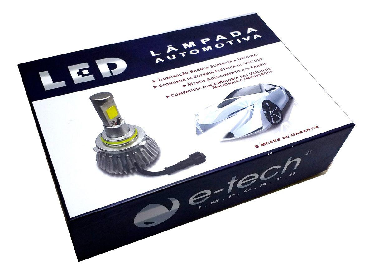 KIT LÂMPADA SUPER LED 2D H27 - 40W 8000K - E-TECH - 3200 LUMIENS - PAR