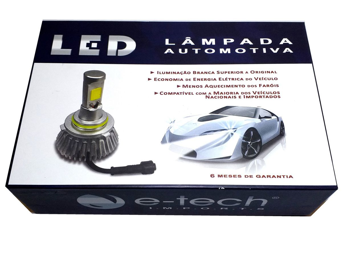 KIT LÂMPADA SUPER LED 2D HB3 - 40W 8000K - E-TECH - 3200 LUMIENS - PAR