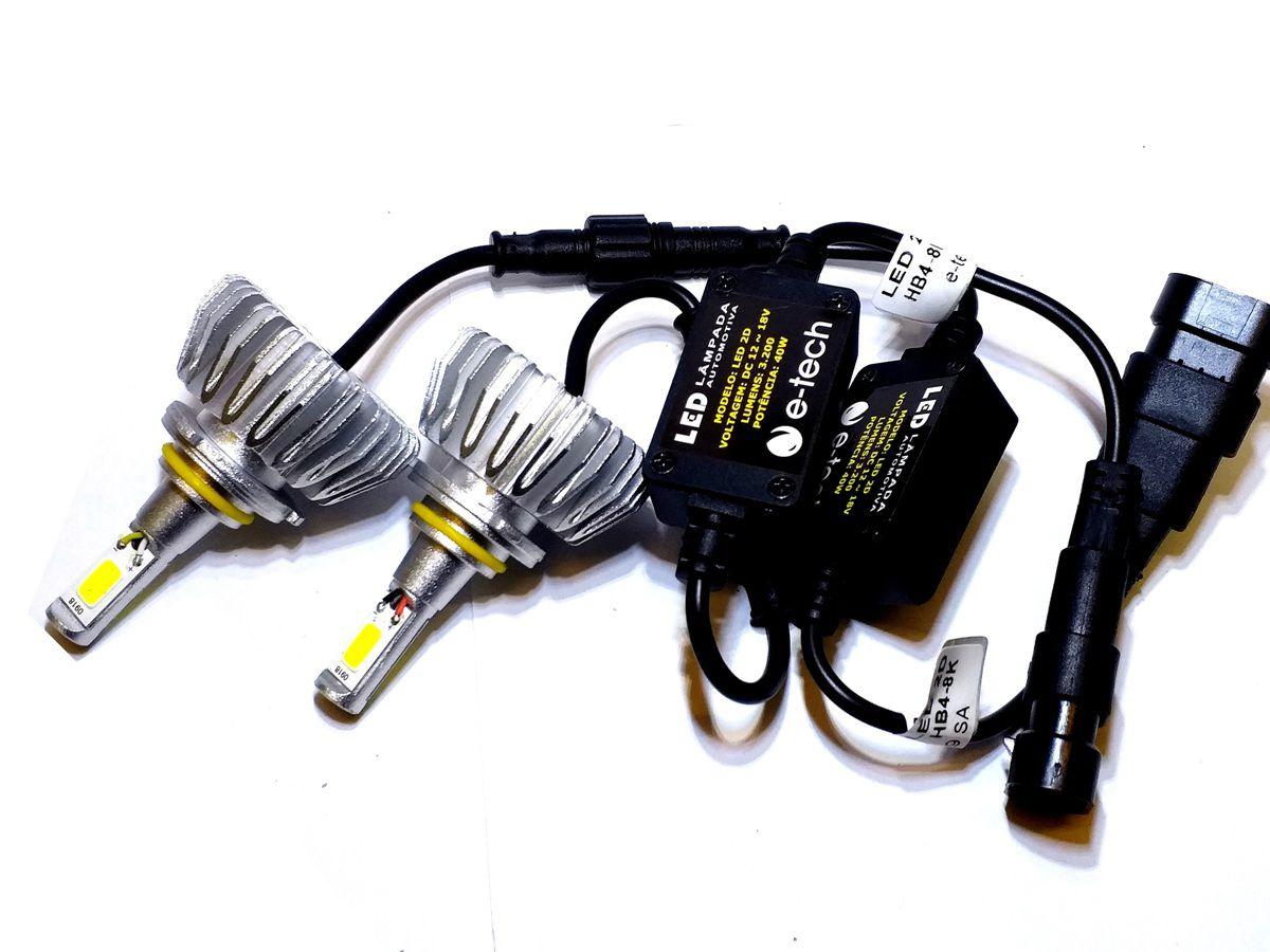 KIT LÂMPADA SUPER LED 2D HB4 - 40W 8000K - E-TECH - 3200 LUMIENS - PAR