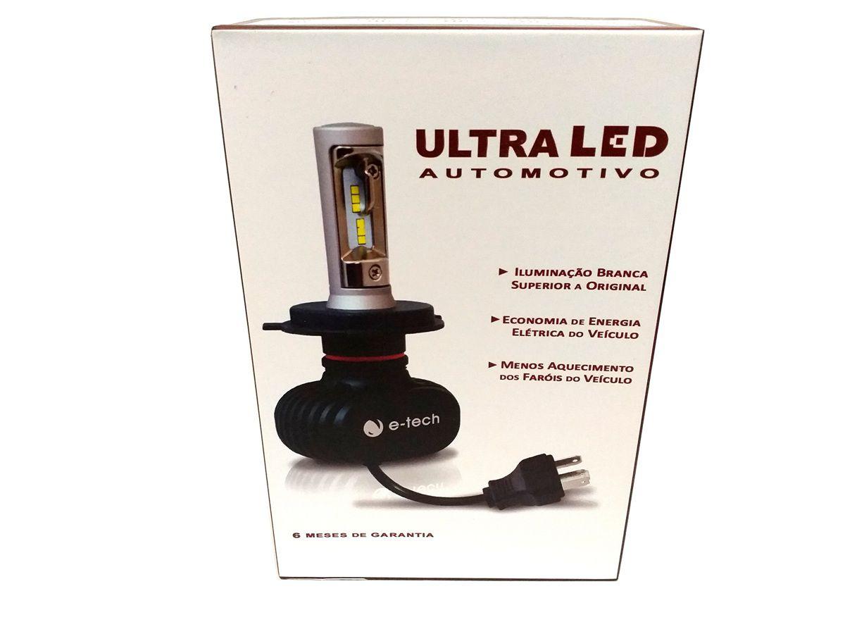 KIT LÂMPADA ULTRA LED H11 - 40W 8000K E-TECH - 6000 LUMIENS