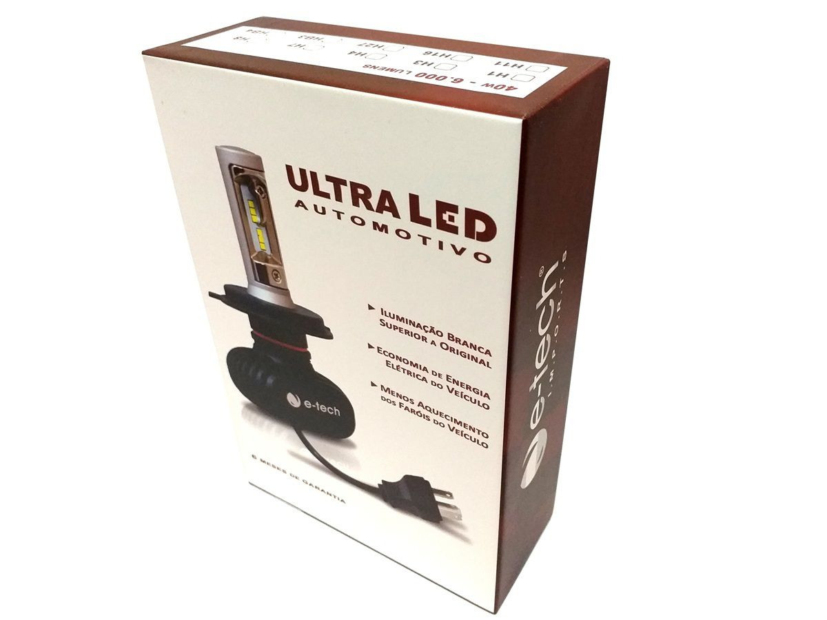 KIT LÂMPADA ULTRA LED H3 - 40W 8000K - E-TECH - 6000 LUMIENS