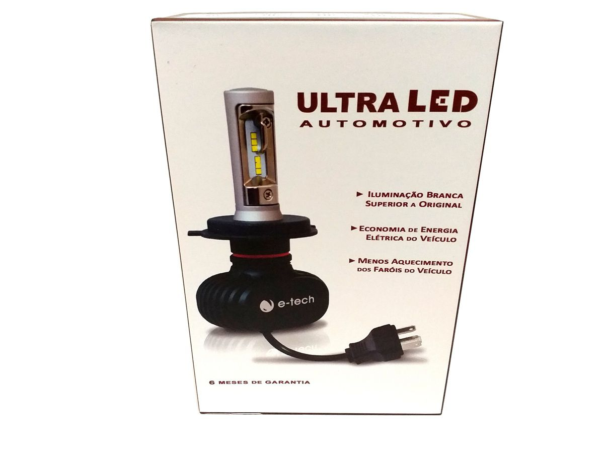 KIT LÂMPADA ULTRA LED H4 - 40W 8000K - E-TECH - 6000 LUMIENS