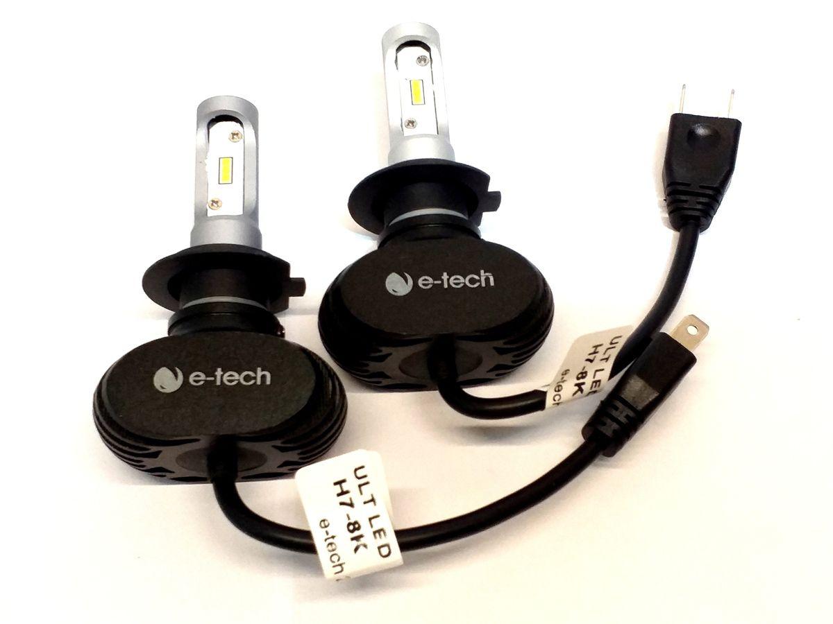 KIT LÂMPADA ULTRA LED H7 - 40W 8000K - E-TECH - 6000 LUMIENS