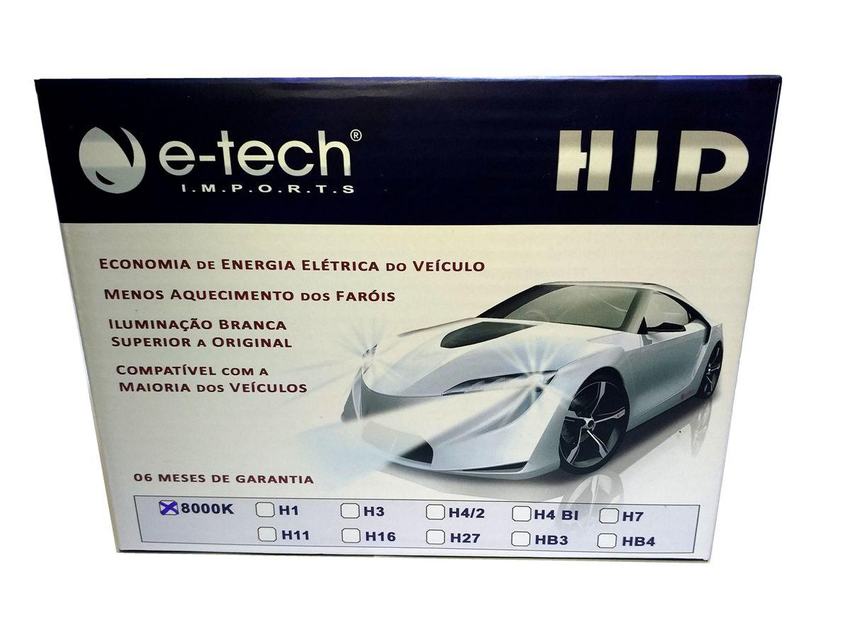 KIT LÂMPADA XENON SLIN HB4 - 35W 8000K - E-TECH - COMPLETO