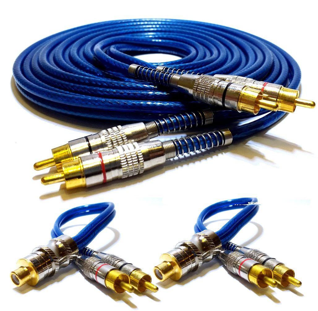 Kit RCA Blindado 5 Metros e 2 Y 2M1F Plugs Banhados a Ouro