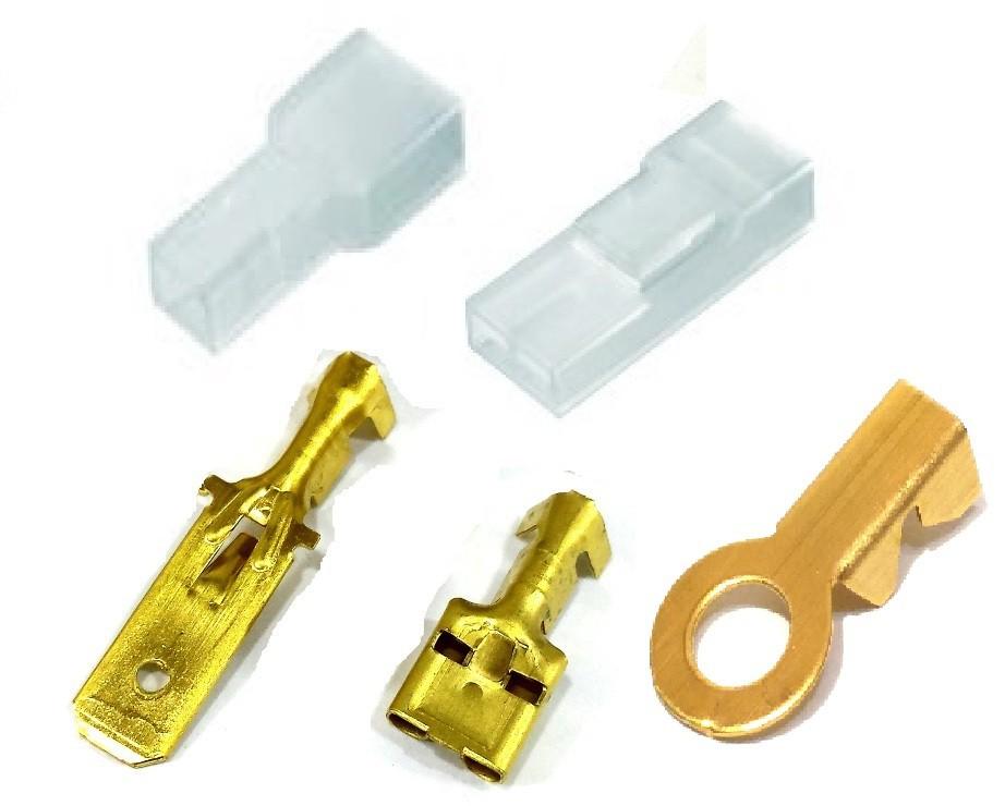 Kit Terminal Fêmea e Macho 6,3mm com Capas e Olhal 1/4 Médio