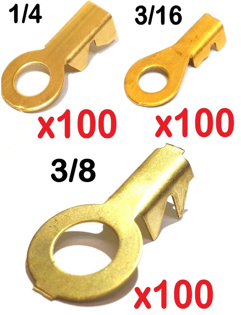 Kit Terminal Olhal 3/8 3/16 e 1/4 Latão 100 Unidades De Cada