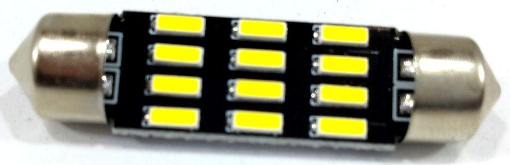 LÂMPADA TORPEDO 12 LEDS 39MM - SUPER BRANCO - LUZ TETO- UNIDADE