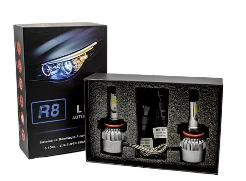 PAR LÂMPADA LED H4 6500K R8 HEADLIGHT COM COOLER SUPE BRANCA