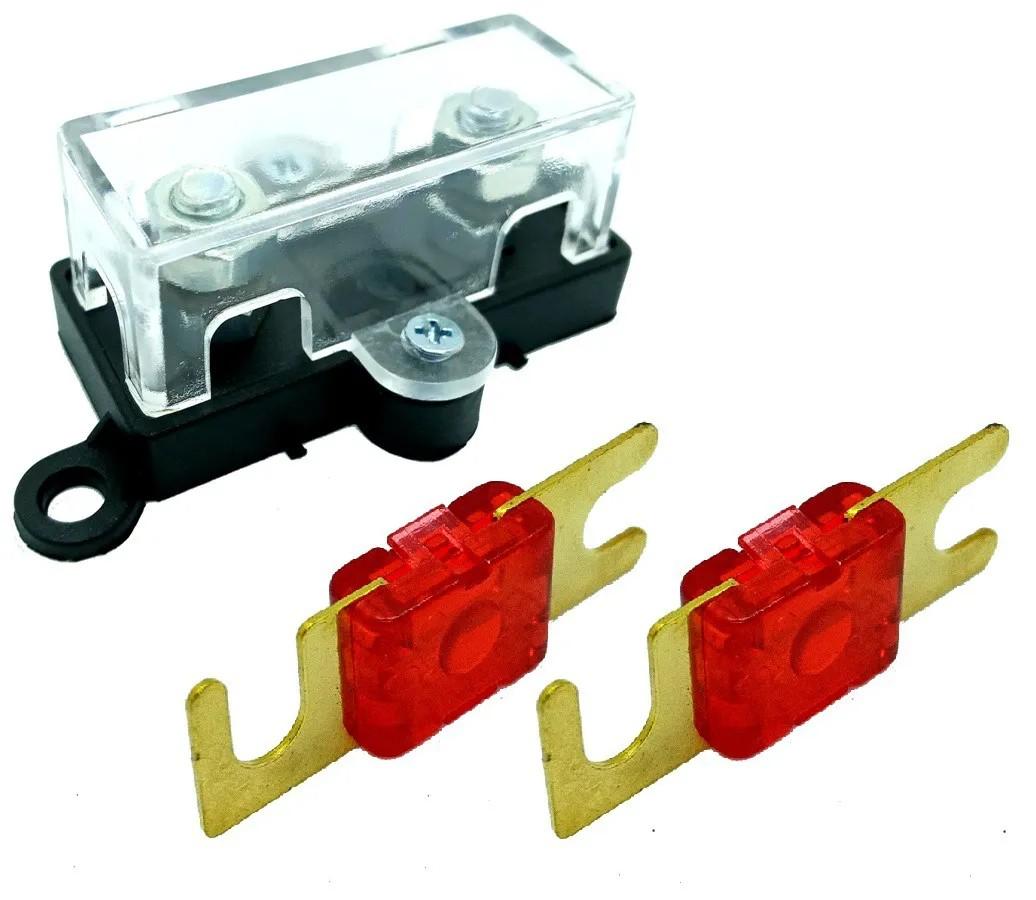 Porta Fusível Acrílico Automotivo e 2 Fusíveis Mini Faca 50A