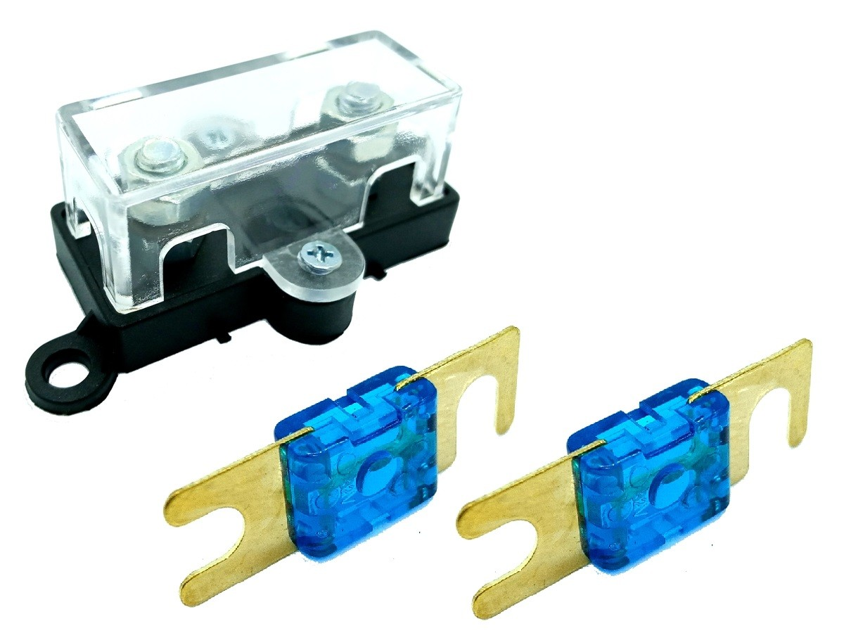Porta Fusível Acrílico Automotivo e 2 Fusíveis Mini Faca 60A