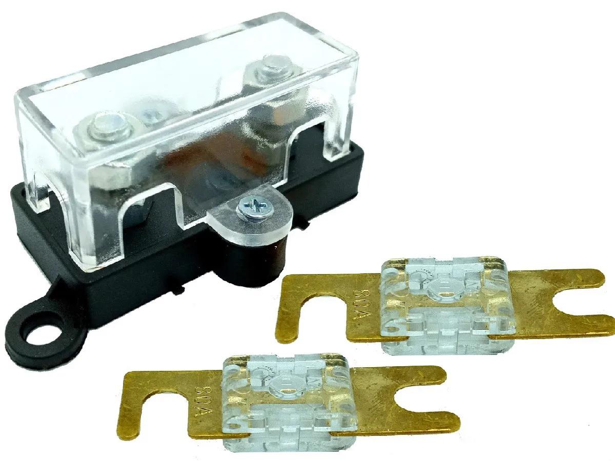Porta Fusível Acrílico Automotivo e 2 Fusíveis Mini Faca 80A