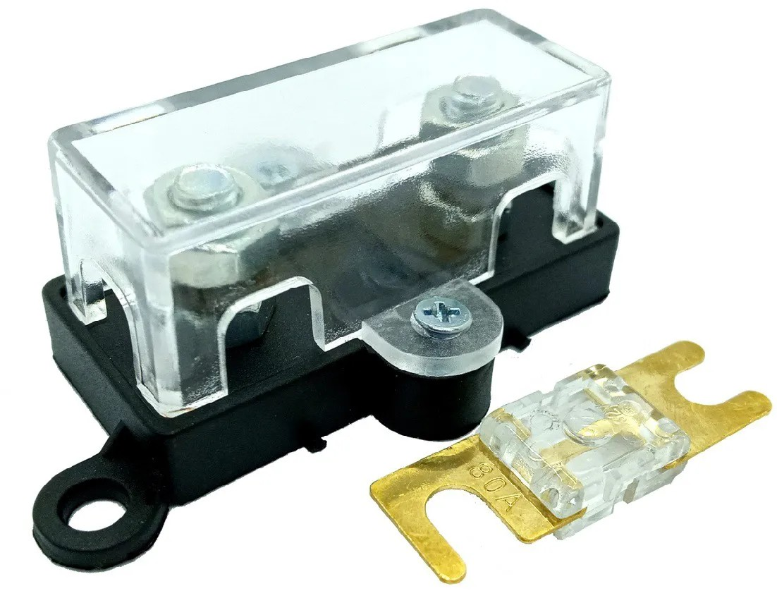 Porta Fusível Acrílico Universal Midi e Fusível 80 Amperes