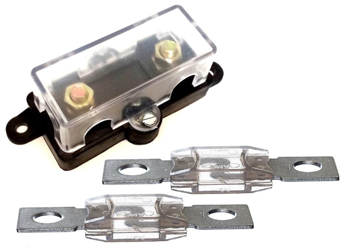 Porta Fusivel Mega Acrilico e 2 Fusíveis de 200 Amperes Som