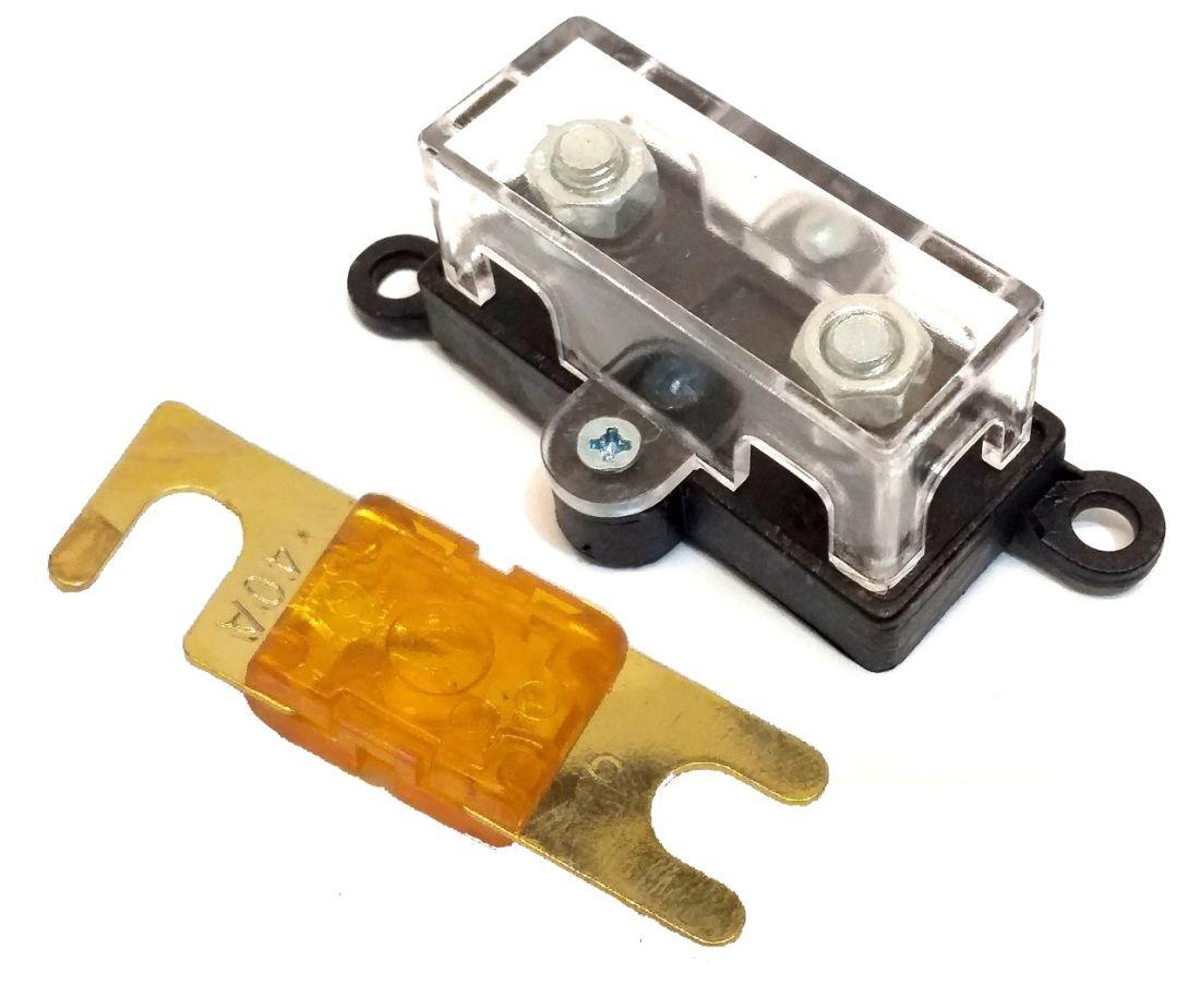 Porta Fusível Midi Pequeno e Fusível Mini Faca 40 Amperes