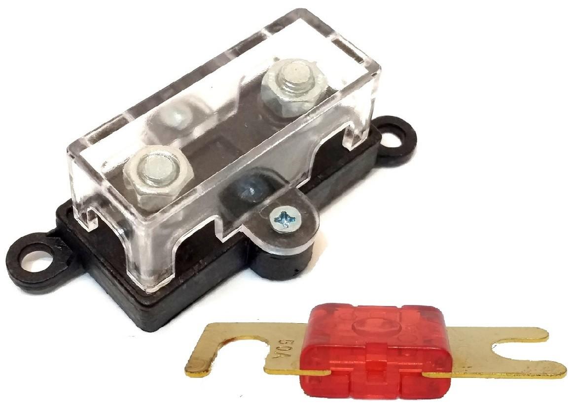 Porta Fusível Som Automotivo Midi e Fusível Mini Faca 50 Amp