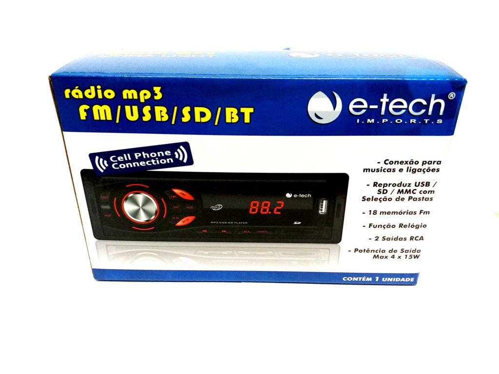 RADIO AUTOMOTIVO MP3 FM USB SD BT -C/ BLUETOOTH E-TECH LIGHT