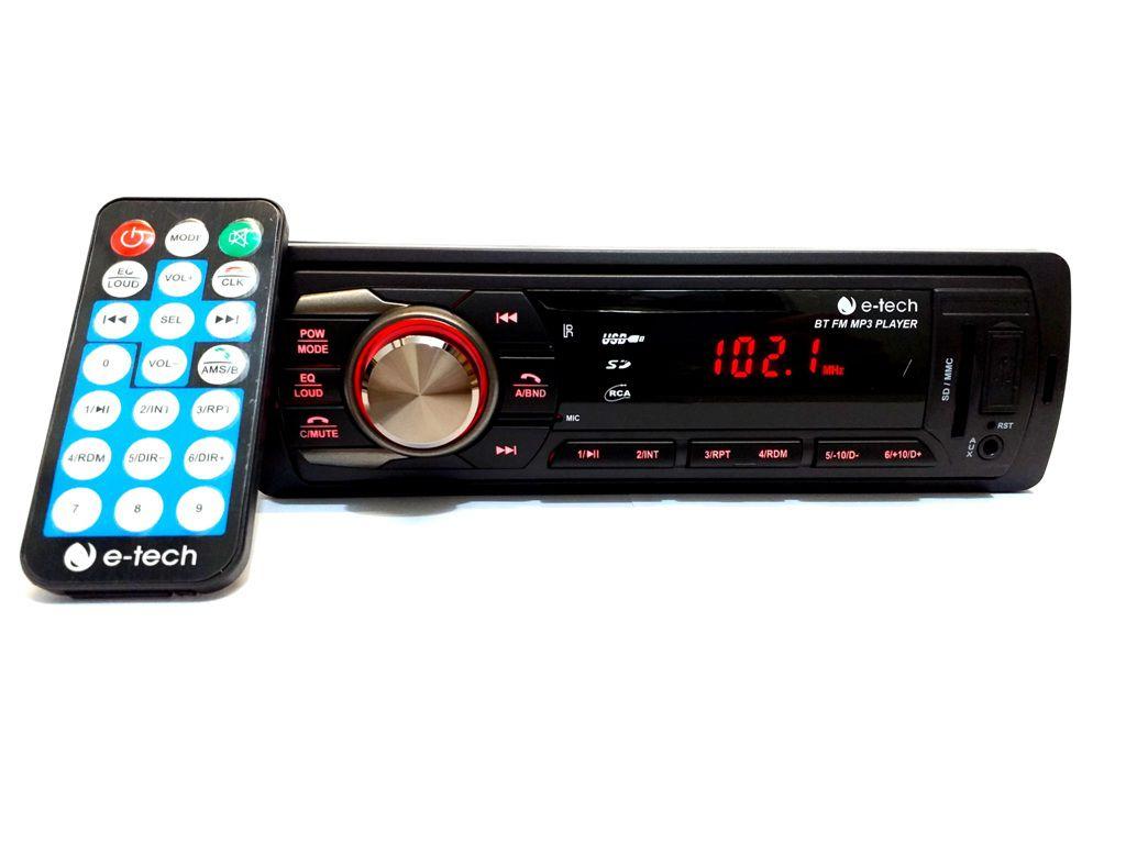 RADIO AUTOMOTIVO MP3 FM USB SD BT C BLUETOOTH E-TECH PREMIUM