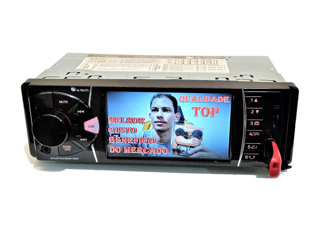 RÁDIO DVD BLUETOOTH MP5 1 DIN 4'' USB SD BT AUXILIAR 4X50W