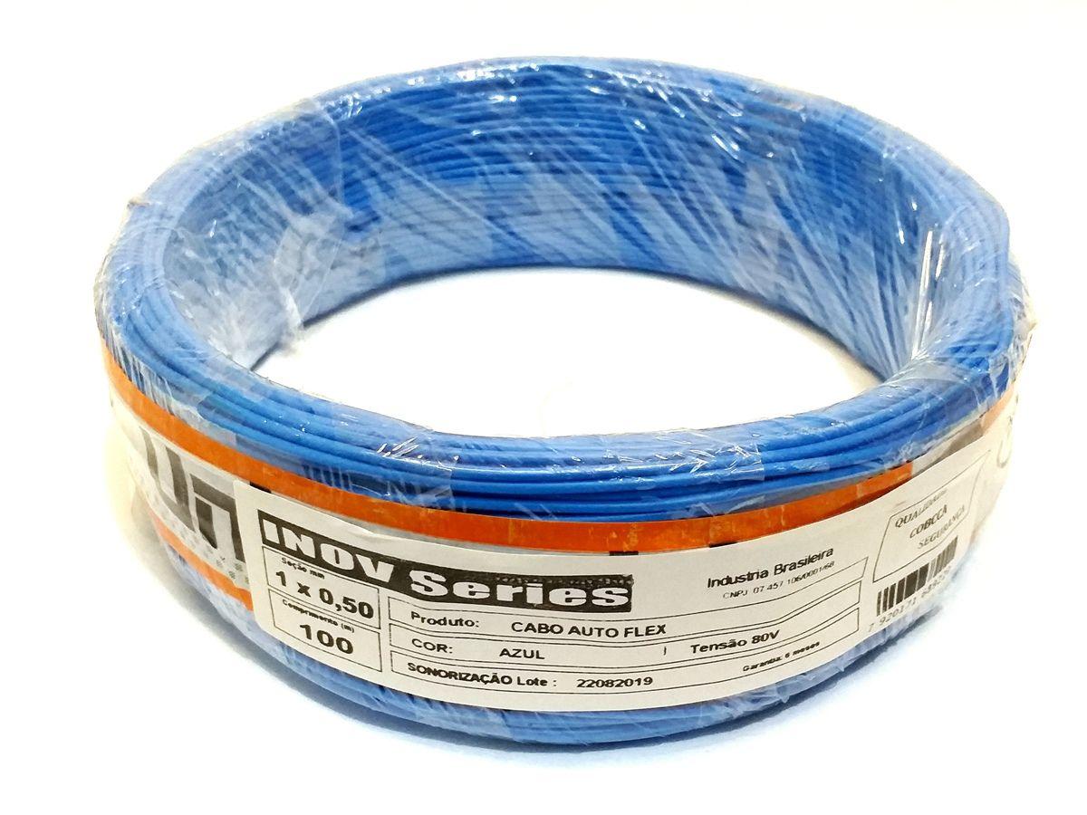 Rolo Cabo Auto 1 X 0,50mm Azul Fio Remoto Cabinho 100 Metros