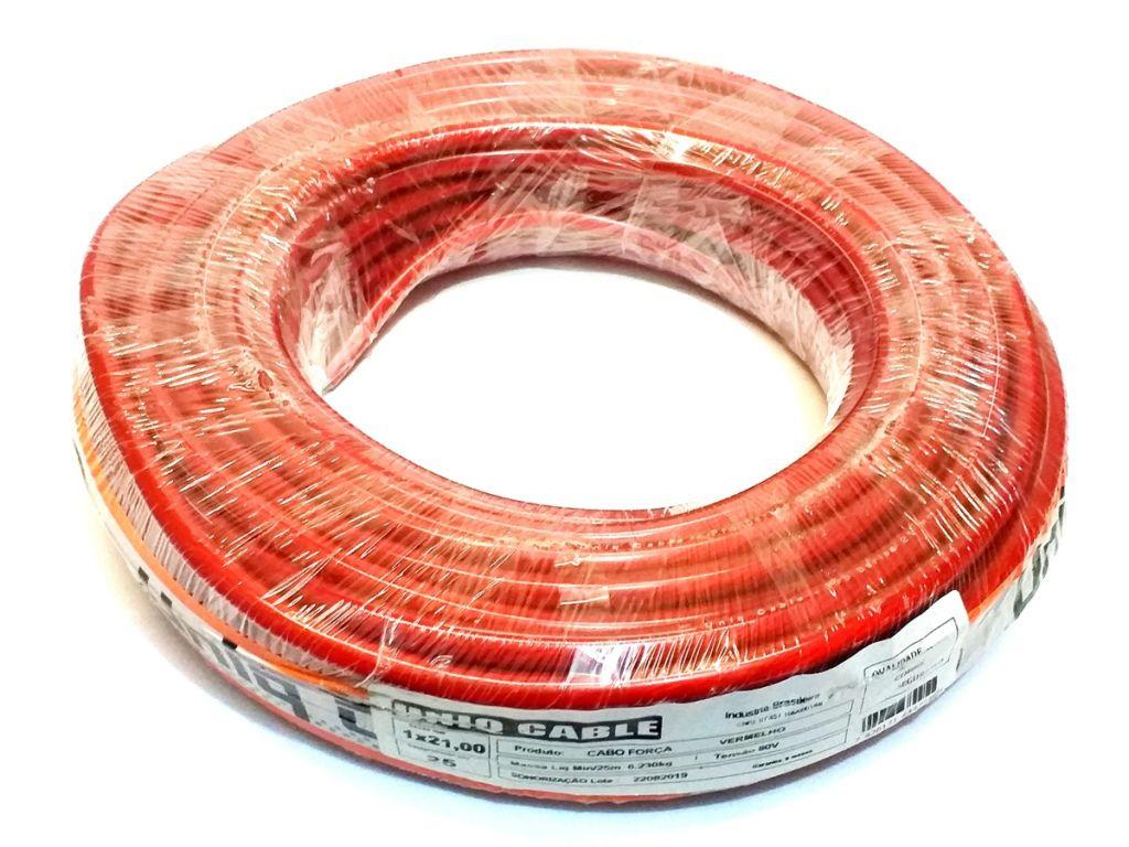 Rolo Cabo Auto 21,0mm Vermelho Emborachado Som 25 Metros