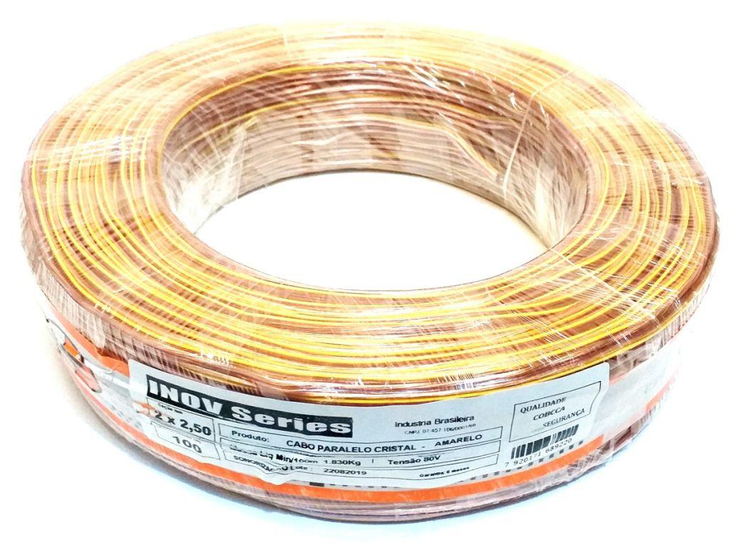 ROLO FIO PARALELO 2 X 2,50 - 2X12 BICOLOR CRISTAL - FIO P/ ALTO FALANTE - 100 METROS