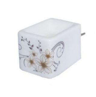 Aromatizador Elétrico Branco de Cerâmica Com Arabesco Dourado (com interruptor)